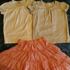 Hanna Andersson Lot Pima Cotton T-Shirts Skirt 110